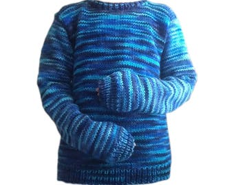Handmade knitted blue sweater