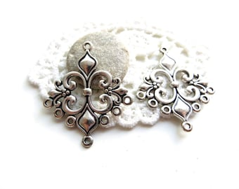 MULTISTRAND silver 36x30mm Lily 10 connectors