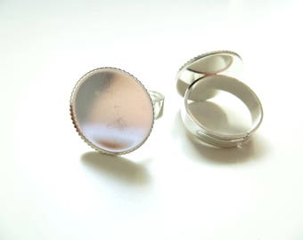 4 holders 18mm cabochon silver ring