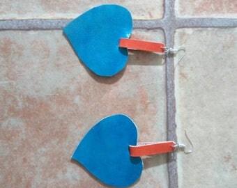 Handmade Valentines Heart Leather earrings