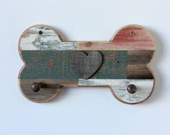 Rustic Reclaimed Wood Inlay Dog Bone Leash Holder with Heart or Custom Name Accent  - rustic decor, shabby chic, leash holder, leash hanger