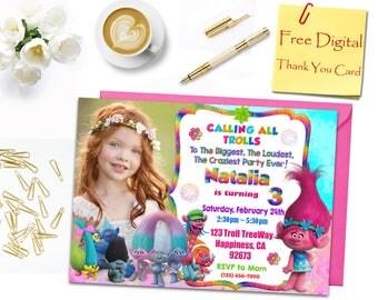 Trolls Birthday Invitation, Trolls Invitation, Trolls Photo Invitation, Trolls Party Invitation, Trolls Thank You Card, Trolls