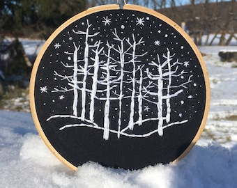 Winters night embrodery art
