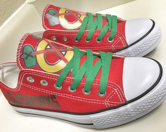 Custom CHICAGO BLACKHAWKS Womens & Mens Red/Black/White/Green/Yellow Low Top Canvas Tennis Shoes
