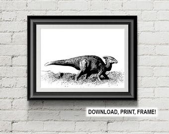 Dinosaur digital illustration,Dinosaur print,Wall Art,Dinosaur poster,Dinosaur Digital Stamp,Dino illustration, Room Decor,Office decor