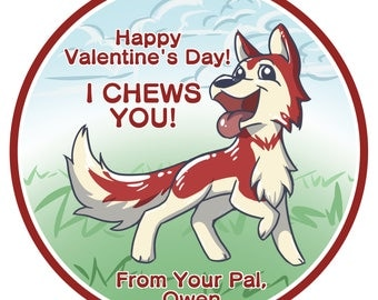 12 Personalized Puppy Valentines Day Sticker