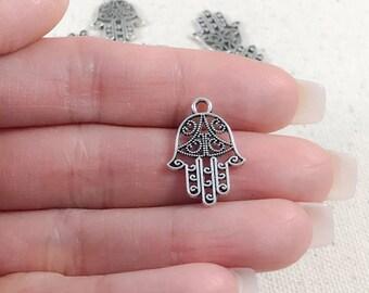 Silver Hamsa Hand Charms | Antique Silver Hamsa Charms | Filigree Hamsa Hand Charms | Hamsa Hand Pendants | Yoga Charms 20x14mm SH277
