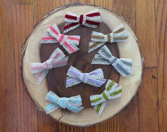 Crochet Lace and Velvet Bow