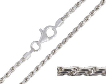 925 Sterling Silver Rope 1.8mm Chain Necklace 18 20 22 24 26 28 30 inches