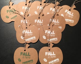 Kraft colored hand stamped pumpkin shaped tags