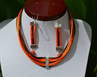 orange and Brown Choker necklace