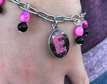 Personalized Bracelet, Bracelets for Girls, Letter Bracelet, Fuchsia Bracelet, Letter Jewelry, Personalized Jewelry, Gift for Girls, Gift