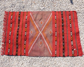 43''/27'' Small KILIM  Moroccan Berber Rug -Old Style Kilim-Vintage -Kilim RedZemmour Flat Woven-teppich- area rug