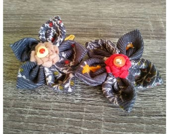 Fabric Flower Hairclip Charcoal Woodland Print
