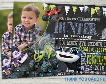 Blaze and the monster machines invitations, Blaze and the monster machines invites, Birthday Invitations, Digital File, Thank you card free