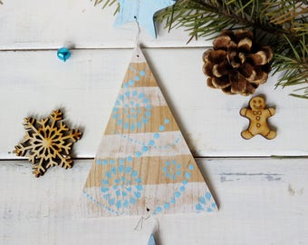 Black friday Blue Christmas tree décor Wooden Christmas ornaments tree Christmas party decoration Blue Rustic Christmas decoration holidays