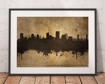 Sacramento skyline vintage print wall art poster | Old decor artwork digital download printable gift | Office Wall Art S42