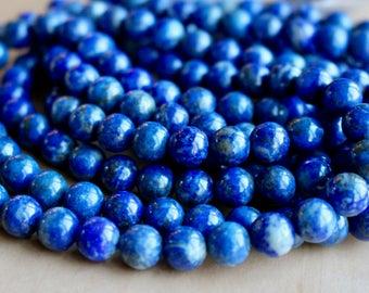 8mm Rainbow Lapis Lazuli, full strand, natural stone beads, round, 80002