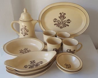 13 Piece Pfaltzgraff Village Design Brown On Cream Stoneware Dinnerware USA Made