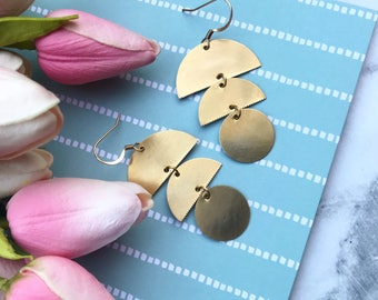 Geometric Circular Drop Earrings    Gold & Brass