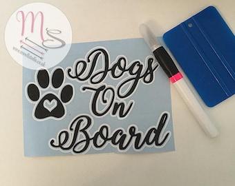 Dogs On Board Vinyl Car window sticker, decal, vinyl, window, sticker