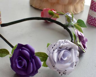 Flower Headband made from Paper Roses, Music Sheet, Purple, Pink and White, Bridal Accessories, Partywear, Flower Girl,  Festival