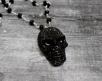 40mm Faux Rhinestone Skull Necklace - Skull Pendant Necklace - Skull Beaded Necklace - Halloween Necklace