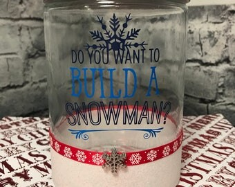 Do You Want To Build A Snowman Glitter Glass Jar