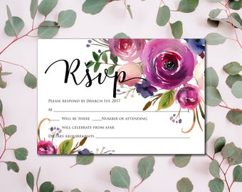 Purple Wedding RSVP Template, RSVP Template, Wedding RSVP, Editable Wedding Rsvp, Instant Download, Printable