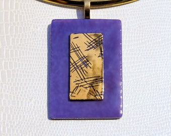 Purple and gold glass pendant