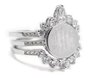 Sterling Silver Engraved Stacked CZ Ring