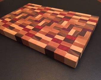 Hand made wood end grain cutting board.