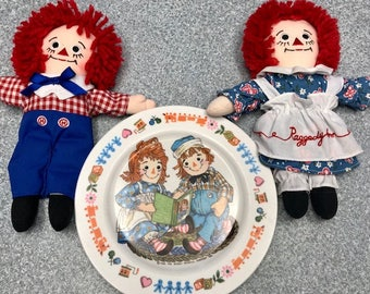 Vintage  1969 Raggedy Ann and Andy Dish AND Raggedy Ann & Andy Dolls