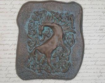 Interlaced animal, horse, Celtic knot, unique gift, Gothic home decor, Renaissance era art, Ceramic, Ceramics, Wall plaque, Christmas gift