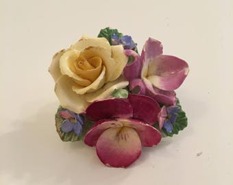 Crown Stafforshire floral bone china brooch from 1970's-1980's.