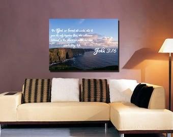 John 3:16 #12 KJV 'For God so Loved the World' Scripture Christian Wall Art, Bible Verse Canvas, Christian Canvas, Bible Verse Wall Art
