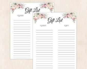 Printable gift list, gift tracker, gift list printable, shower gift list, Christmas gift list, Christmas gift, baby shower list, gift A105