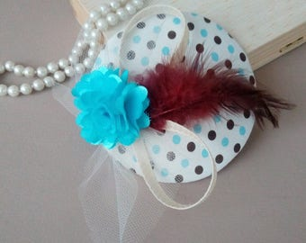"""""""Bibi"""" hat / fascinator - dots and feathers"""