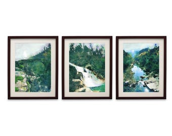 watercolor print set of 3 large wall art prints 3 pieces wall art