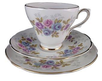 Royal Sutherland 'Blue Roses' Tea Cup Trio