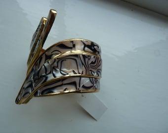 Lilac and Grey tones cuff hinged bangle