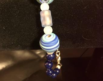 """Blue glass bracelet 8"""""""