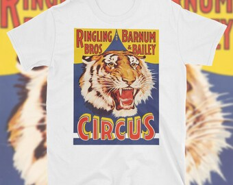 Ringling Bros Barnum Bailey T Shirt Circus Tiger Clown Carnival Festival Vibrant Full Color Classic