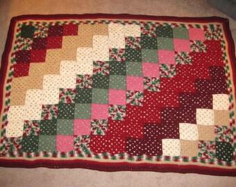 Crocheted Afghan - Hunter and Wine