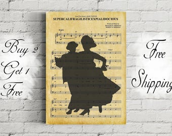 Disney Mary Poppins SupercalifragilisticExpialidocious Music Art Metal Print-Mary Poppins And Bert Poster-Supercalifragilisticexpialidocious