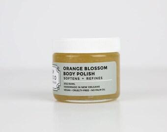 Travel Size Orange Blossom Body Polish - Salt Scrub - Natural Body Scrub