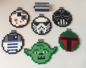 Star Wars Christmas Baubles Hama Bead Boba Fett BB-8 R2-D2 Yoda Darth Vader Stormtrooper