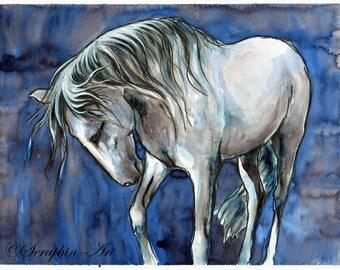 Grey Andalusian Horse Original Watercolor Painting
