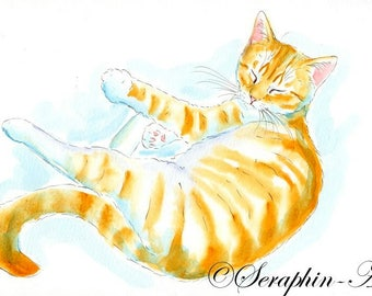 Ginger Tabby Kitten Original Watercolor Painting