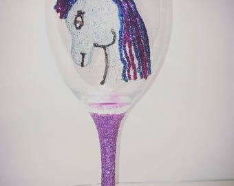 Unicorn glitter glass